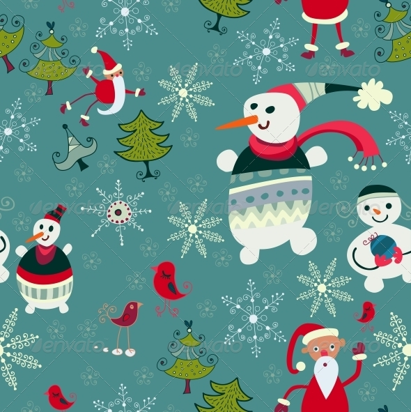 Christmas Texture with Santa, Deer, Snowman - Patterns Decorative