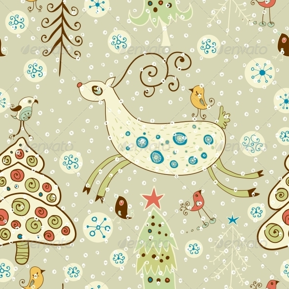 Christmas Pattern. Forest and Deer - Patterns Decorative