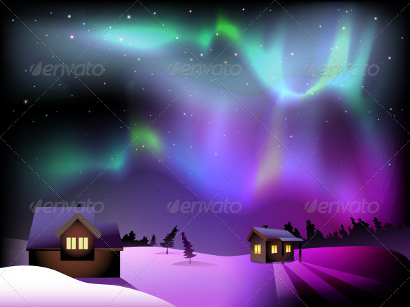 Aurora Borealis and Houses on Christmas Eve - Vectors