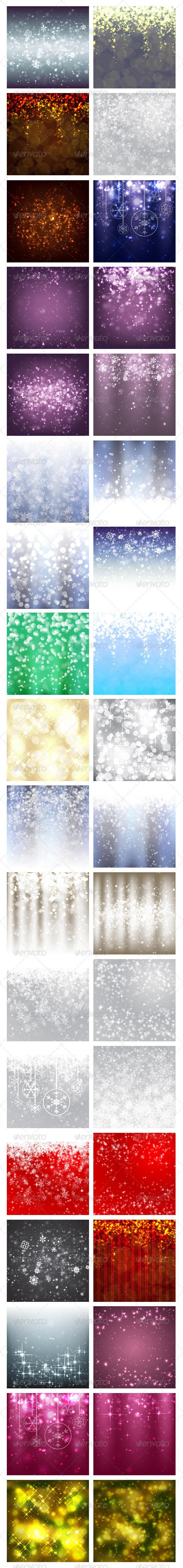 36 Merry Christmas Vector Backgrounds - Christmas Seasons/Holidays