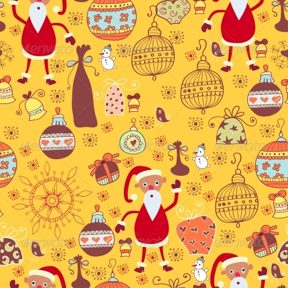Christmas Texture with Santa, Toys - Patterns Decorative