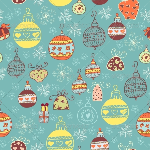 Christmas Seamless Pattern with Xmas Toys - Patterns Decorative