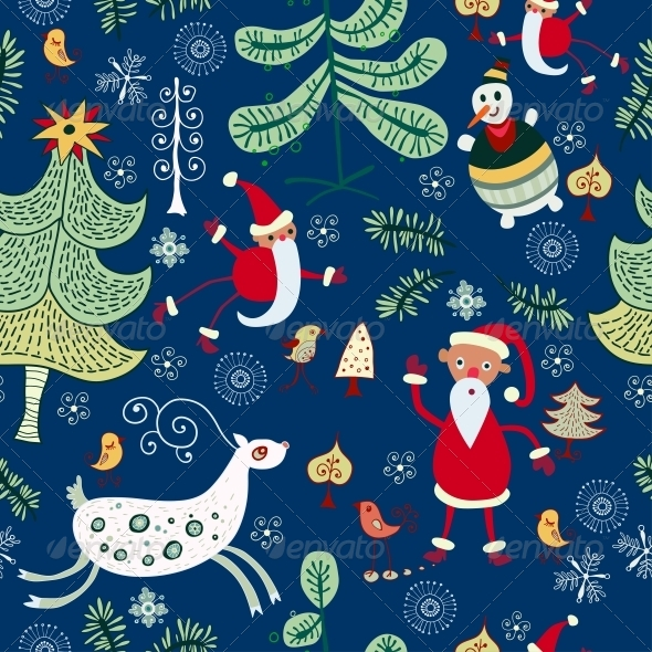 Christmas Texture with Santa and Deer - Patterns Decorative