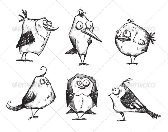 6 Cartoon Birds   - Animals Characters