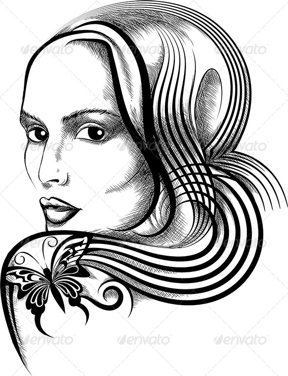 Woman with Butterfly Tattoo - Tattoos Vectors
