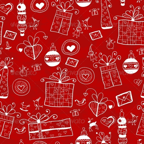 Red Christmas Seamless Pattern - Patterns Decorative