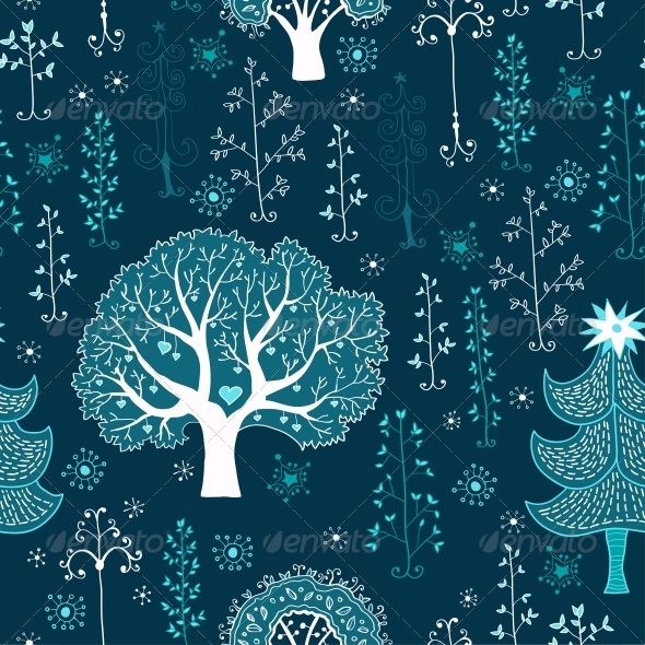 Winter Forest Seamless Pattern - Patterns Decorative