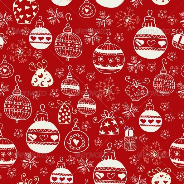 Red Christmas Seamless Pattern. - Patterns Decorative