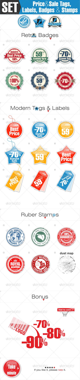 Sale Tags, Labels and Badges for Online Shop - Vectors