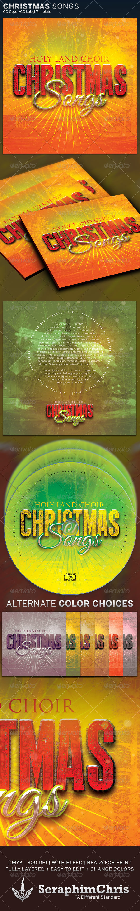 Christmas Songs: CD Cover Artwork Template - CD & DVD Artwork Print Templates