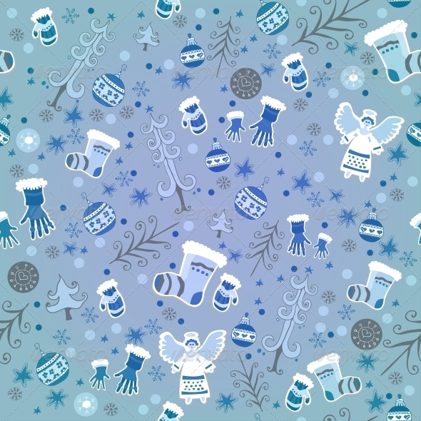 Blue Winter Pattern with Angels and Gloves - Patterns Decorative