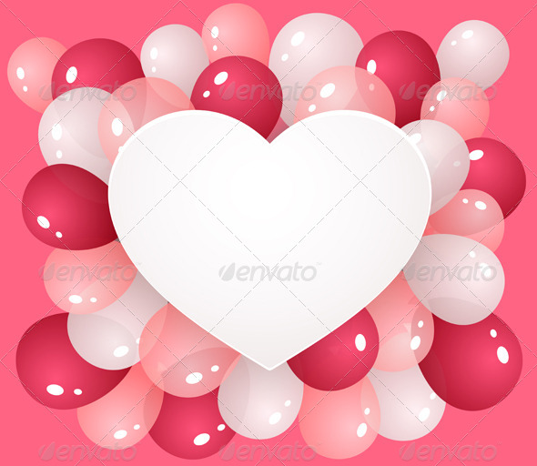 Heart with Balloons - Valentines Seasons/Holidays