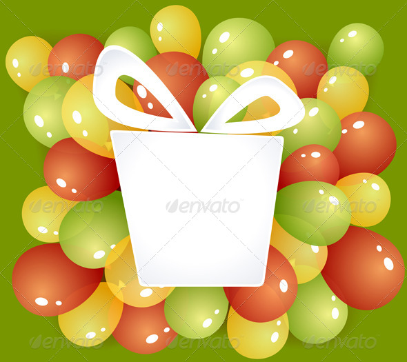 Gift Frame with Balloons - Objects Vectors
