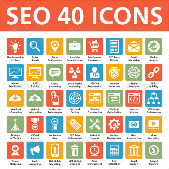 SEO 40 Icons (Search Engine Optimization) - Business Icons