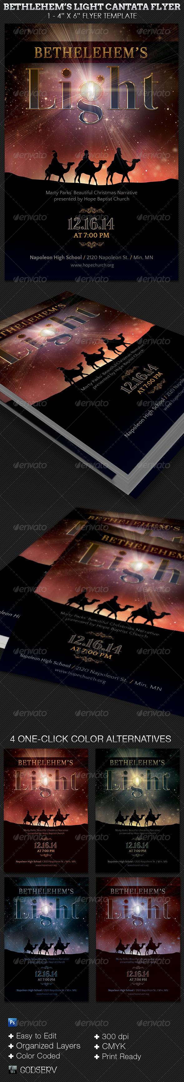 Bethlehem Light Cantata Flyer Template - Church Flyers