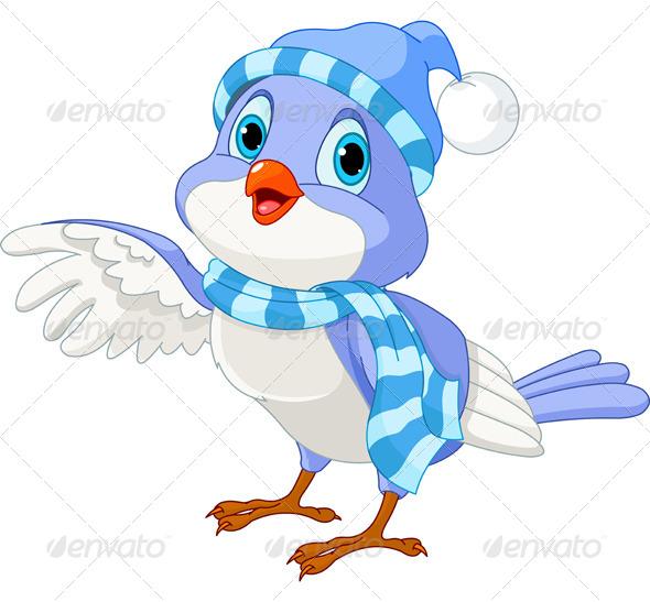 Cute Winter Bird - Animals Characters