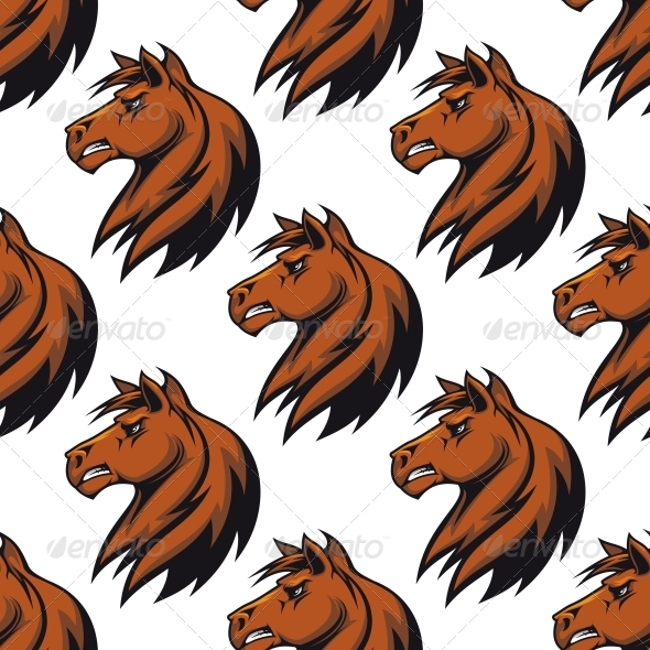 Seamless Pattern with Majestic Stallion - Patterns Decorative