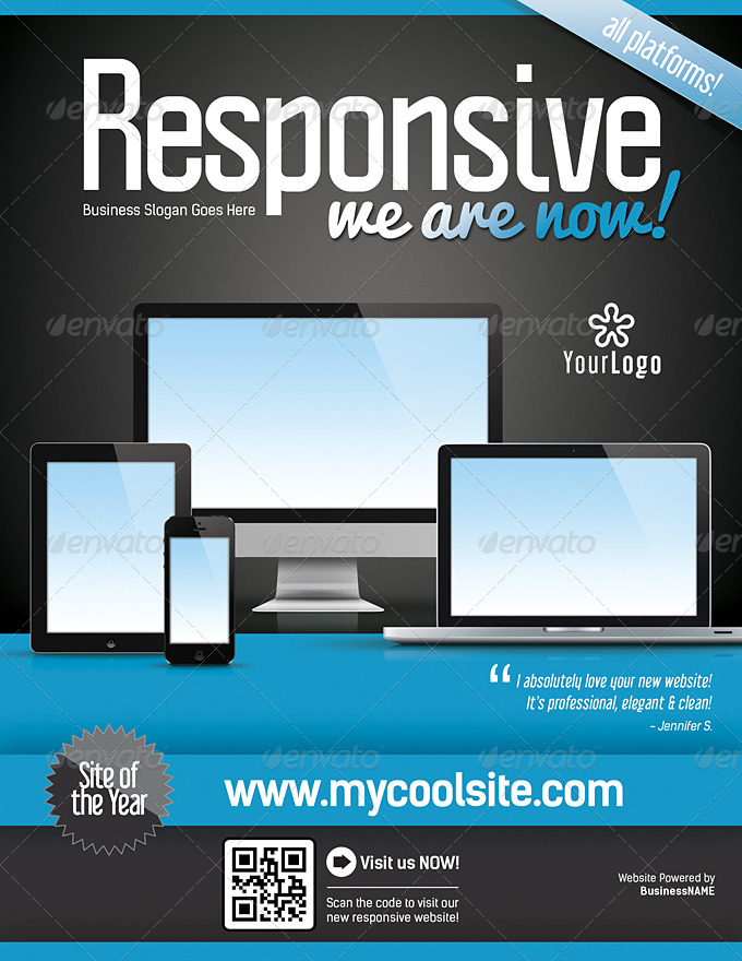 Website Responsive Flyers Template  By LevelStudio  Graphicriver