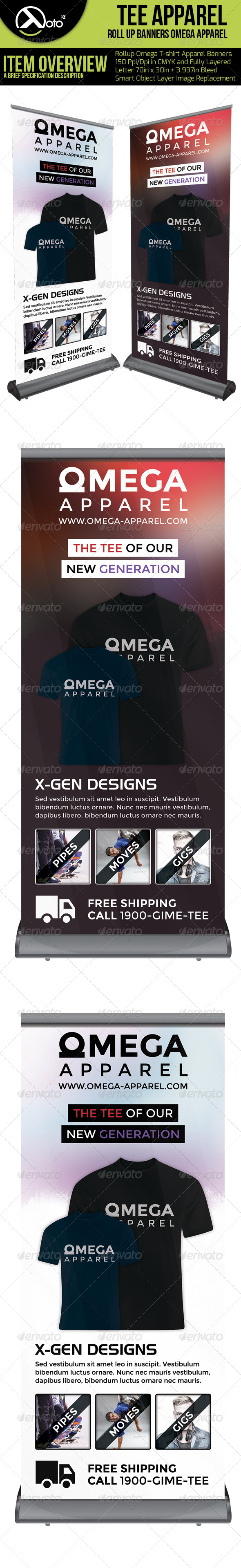 Omega Tee Apparel Roll Up Banners - Signage Print Templates