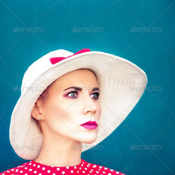 Fashion portrait of sensual retro girl - Stock Photo - Images