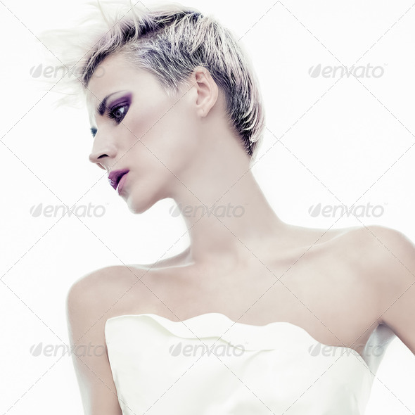 Portrait of sensual girl with fashionable hairstyle - Stock Photo - Images