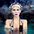 sensual girl in a wreath of flowers in the sea - PhotoDune Item for Sale