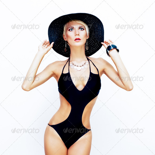 fashion portrait of a sensual girl in a bathing suit - Stock Photo - Images