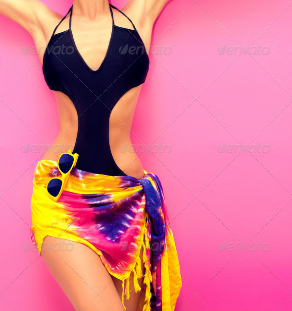 torso of a girl in a swimsuit fashion - Stock Photo - Images