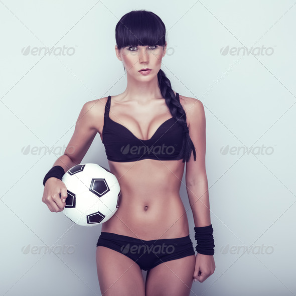 Sports sensual girl with ball - Stock Photo - Images
