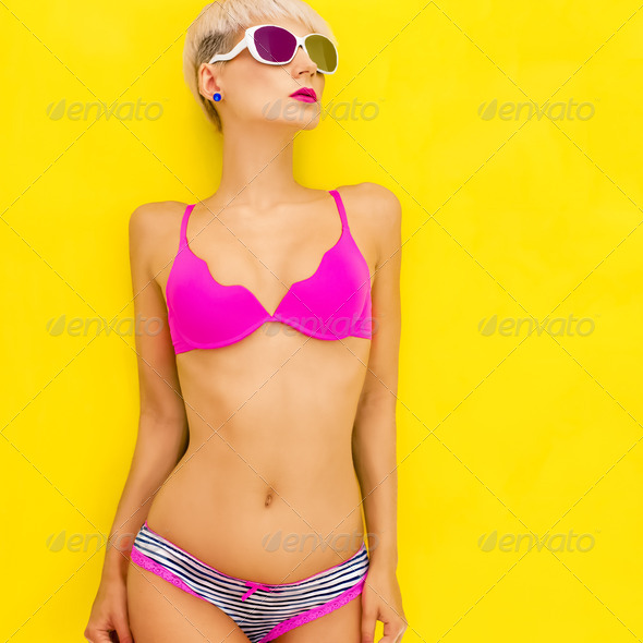 Portrait of a bright summer girl - Stock Photo - Images