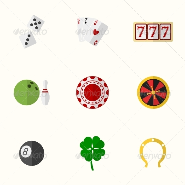 Casino and Gambling Flat Icons - Web Elements Vectors