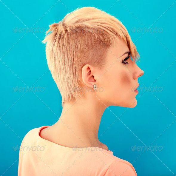 woman with short stylish hairstyle - Stock Photo - Images