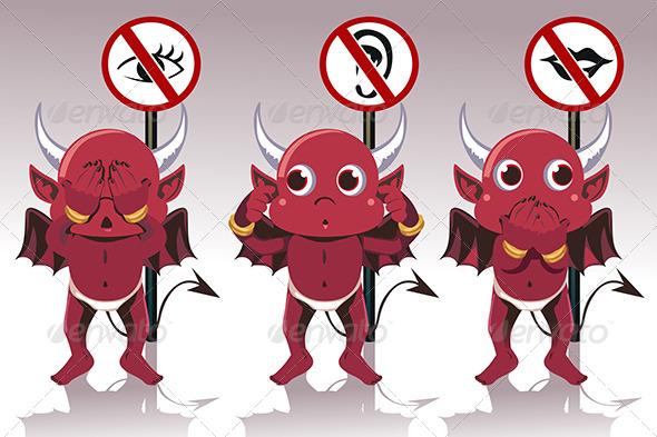 See No Evil Hear No Evil Speak No Evil - Characters Vectors