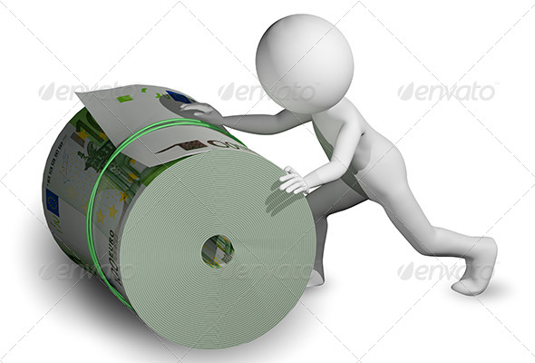 Man Rolls a Roll of Euros - Abstract 3D Renders