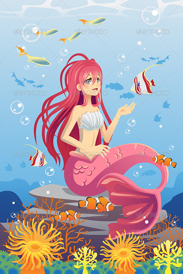Mermaid in Ocean - Animals Characters