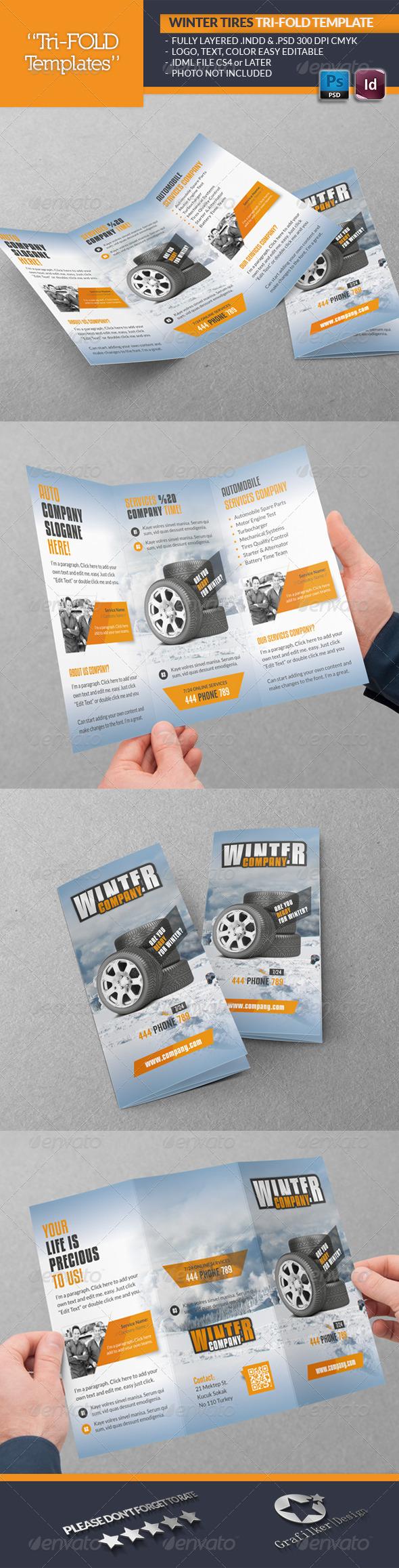 Winter Tires Tri-Fold Template - Brochures Print Templates
