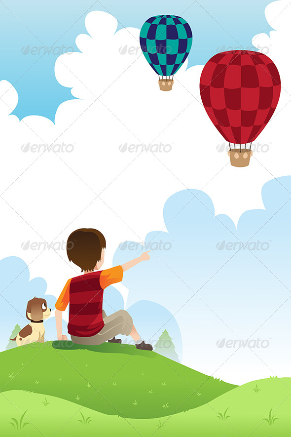 Boy and Dog Watching Balloons - People Characters