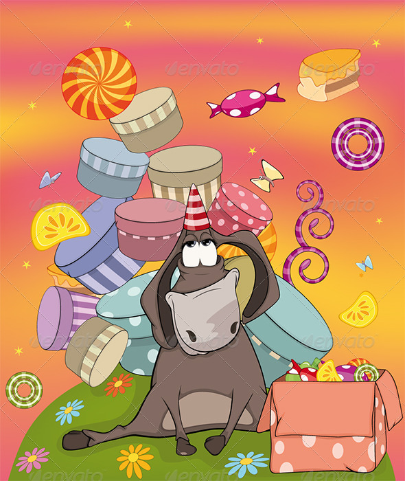 Donkey Birthday Cartoon  - Birthdays Seasons/Holidays