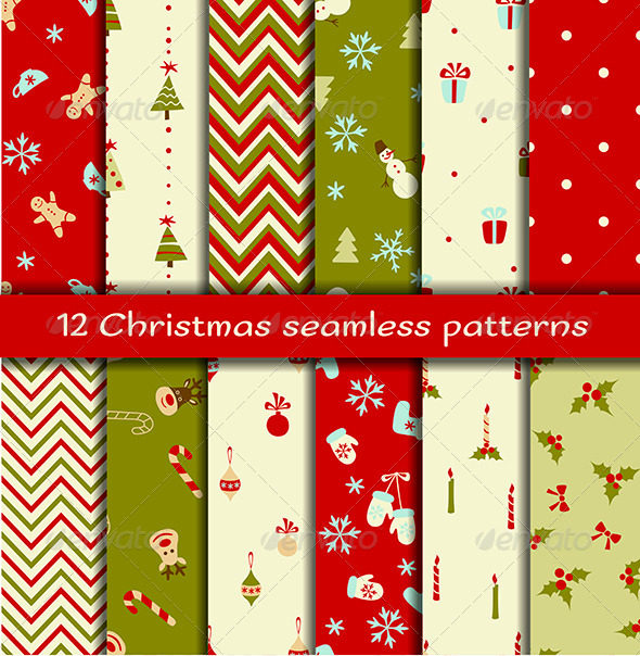 Set of 12 Christmas Seamless Patterns - Patterns Decorative