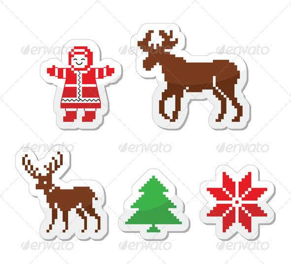 Christmas Winter Pixelated Vector Icons Set  - Christmas Seasons/Holidays