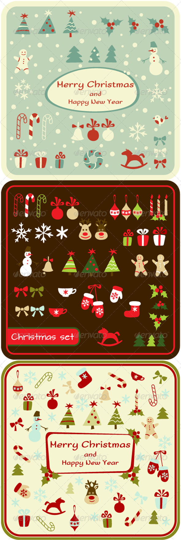Set of Christmas Design Elements and Cards - Christmas Seasons/Holidays