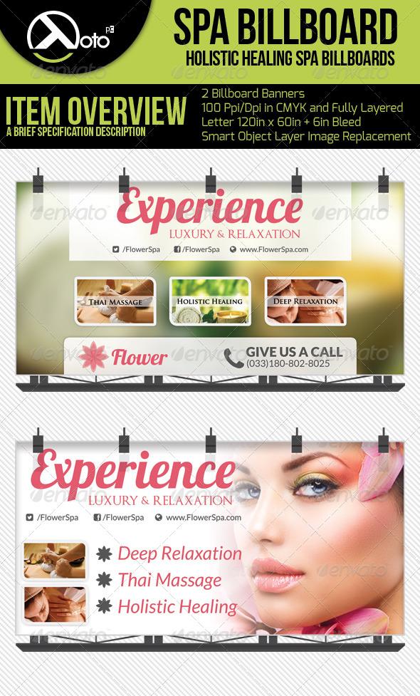 Flower Holistic Healing Spa Billboards - Signage Print Templates