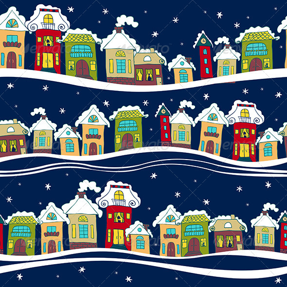 Seamless Pattern with Houses in Winter Time - Patterns Decorative
