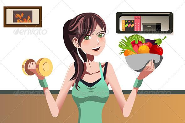 Fitness Girl - Health/Medicine Conceptual
