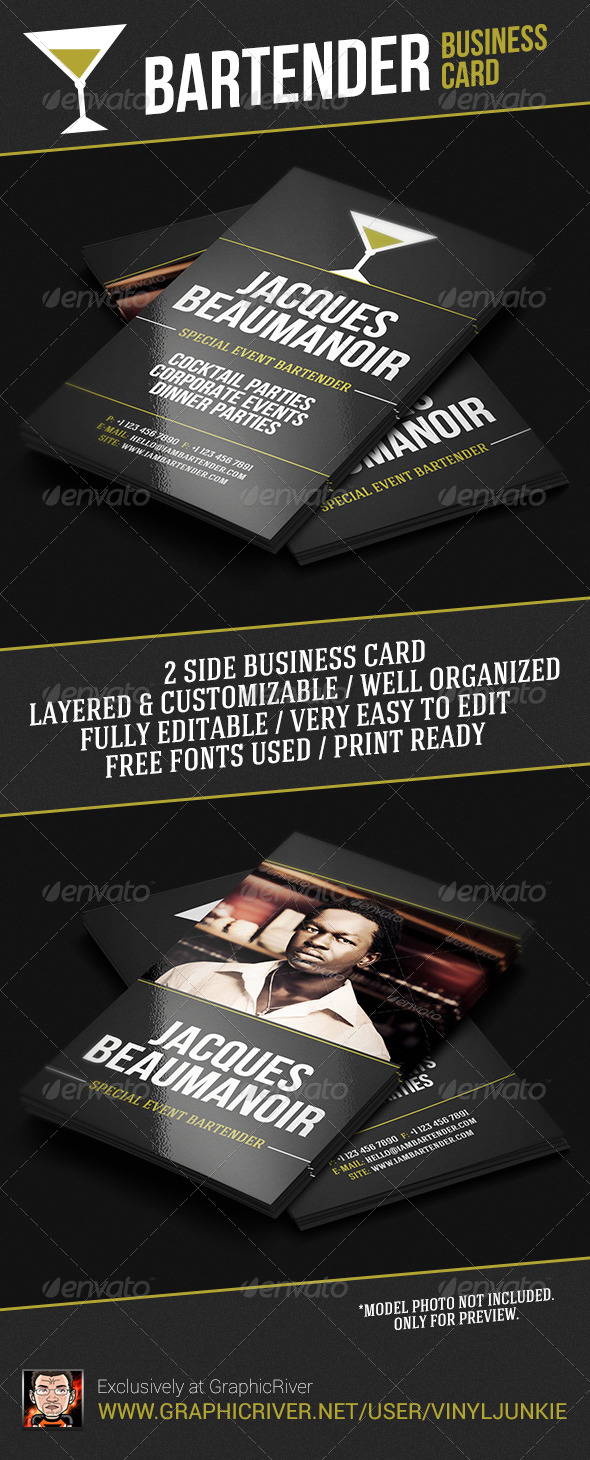 Bartender Business Card by vinyljunkie | GraphicRiver