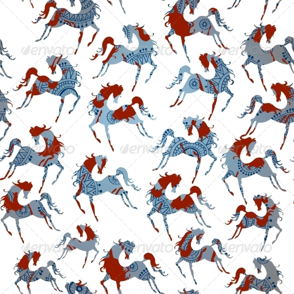 Horse Blue Seamless Pattern. Vector. - Patterns Decorative