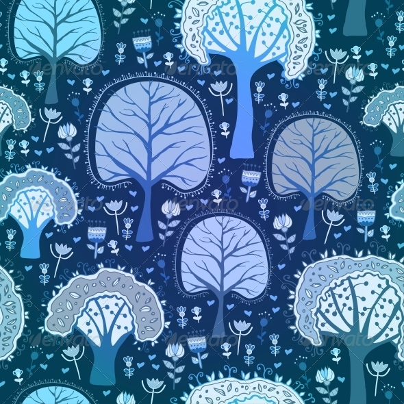 Blue Winter Forest Seamless Pattern - Patterns Decorative