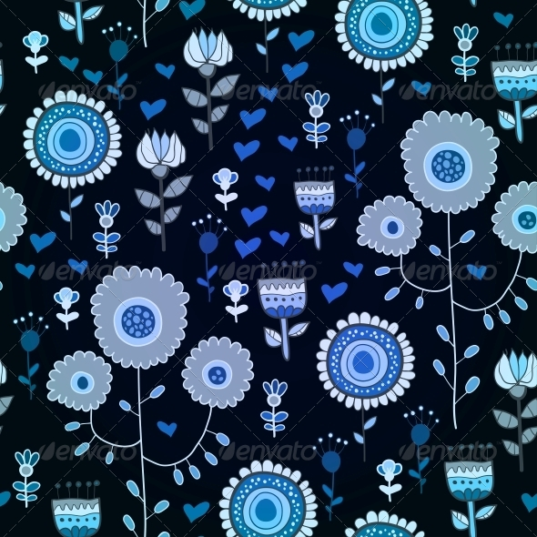Blue Seamless Texture with Flowers - Patterns Decorative