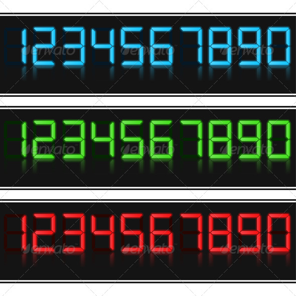 Glowing Digital Numbers - Technology Conceptual