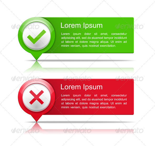 Banners with Check and Cross Symbols - Web Elements Vectors